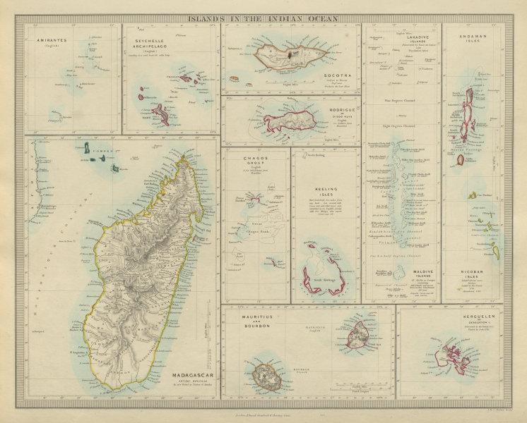 Associate Product INDIAN OCEAN Madagascar Seychelles Maldives Mauritius Réunion. SDUK 1874 map