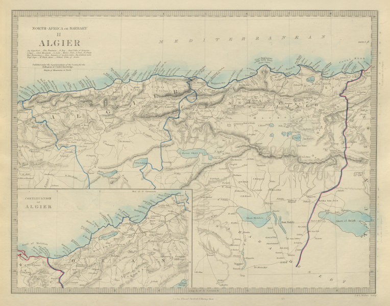 Associate Product ALGERIA. North Africa or Barbary. Algier Algiers Constantine Oran. SDUK 1874 map