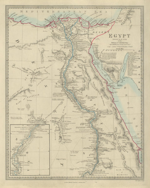 Associate Product EGYPT. Nile valley. Red Sea. Original outline colour. SDUK 1874 old map