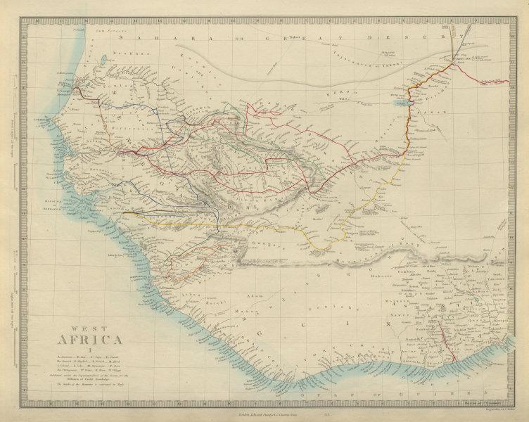 Associate Product WEST AFRICA explorers' routes. Beaufort Gray Park Dochard Caillie. SDUK 1874 map