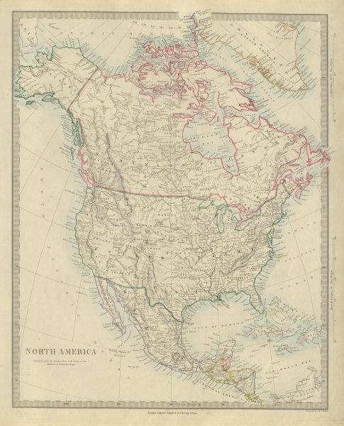 Associate Product NORTH AMERICA Haida Gwaii shown as US. Maine/NB border differs. SDUK 1874 map
