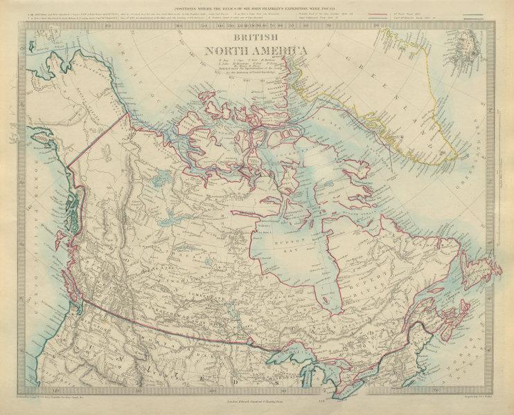 Associate Product BRITISH NORTH AMERICA Northwest passage explorers' routes Franklin SDUK 1874 map
