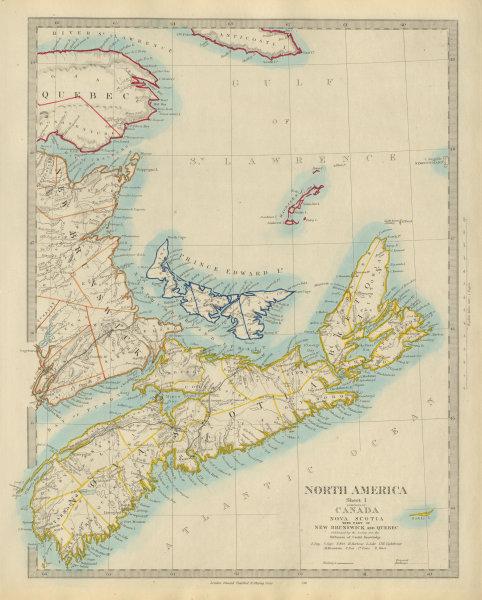 Associate Product NOVA SCOTIA, New Brunswick Quebec Prince Edward's Island. Canada. SDUK 1874 map