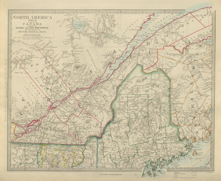 Associate Product ST LAWRENCE RIVER & QUEBEC Canada Montreal Maine New Brunswick SDUK 1874 map