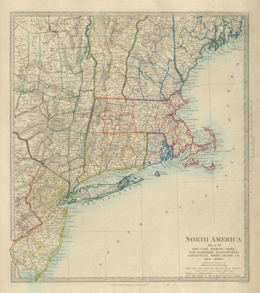 Associate Product USA New York Maine Massachusetts Connecticut New Jersey NH RI VT.SDUK 1874 map