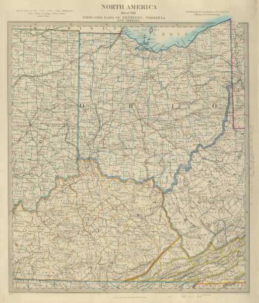 Associate Product USA. Ohio with parts of Kentucky, Virginia & Indiana. Counties. SDUK 1874 map