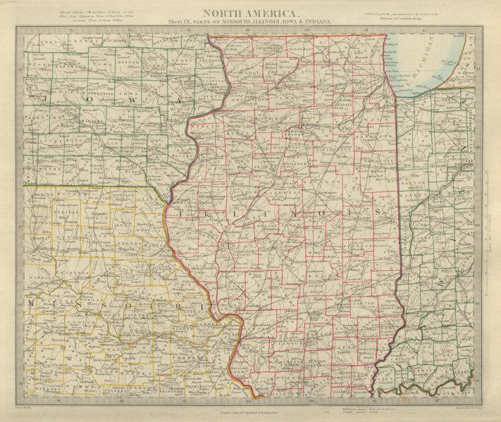 Associate Product USA MIDWEST. Missouri Illinois Indiana Iowa. Railways. SDUK 1874 old map
