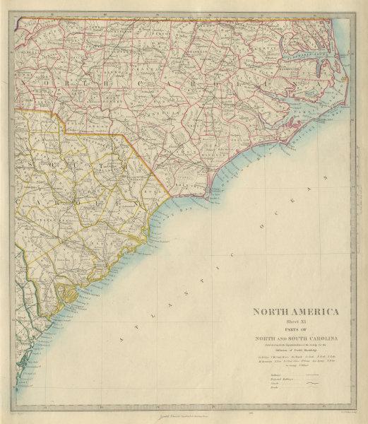 Associate Product NORTH & SOUTH CAROLINA COAST Charleston Cape Hatteras Fear Lookout SDUK 1874 map