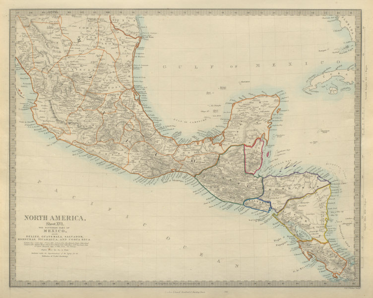 Details about SOUTHERN MEXICO & CENTRAL AMERICA Yucatan Belize Guatemala  SDUK 1874 old map