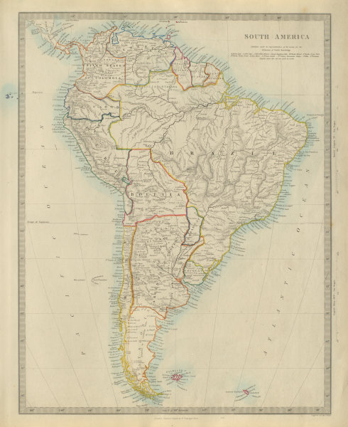 Associate Product SOUTH AMERICA Brazil Chile Peru Bolivia W/ Litoral Patagonia. SDUK 1874 map