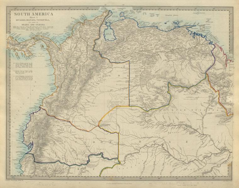 "Associate Product AMAZONIA showing ""El Dorado?"" & Missions. Brazil Ecuador Colombia SDUK 1874 map"