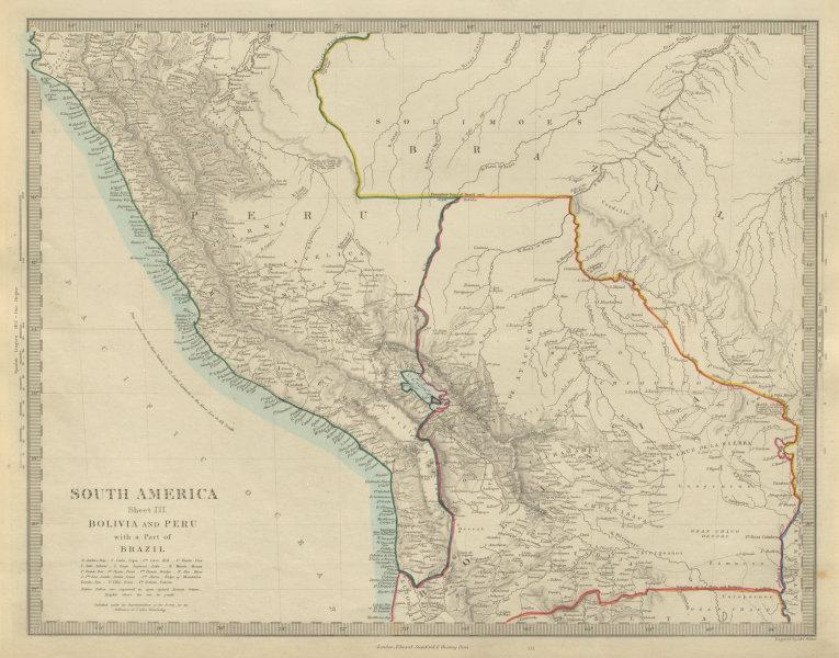 Associate Product BOLIVIA with Litoral & PERU. Brazil Matto Grosso Amazonas. SDUK 1874 old map