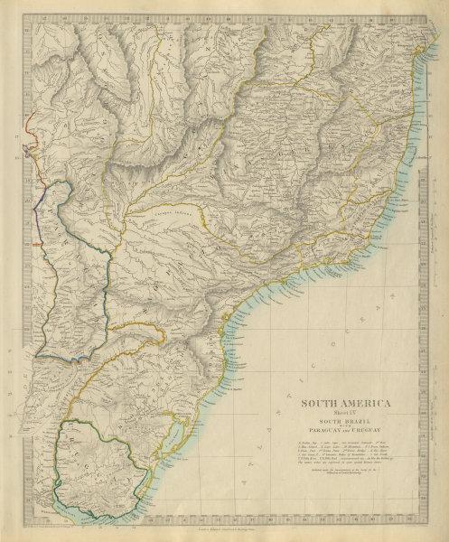Associate Product SOUTH BRAZIL PARAGUAY URUGUAY. Bahia Minas Gerais Sao Paolo. SDUK 1874 old map
