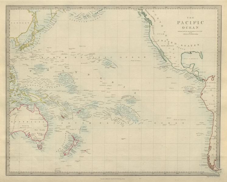 Associate Product PACIFIC OCEAN. Australasia Polynesia Oceania Sandwich Islands. SDUK 1874 map