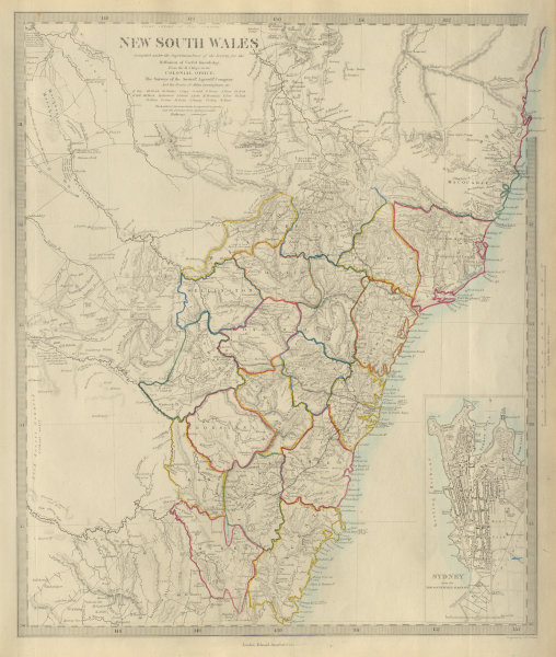 Associate Product NEW SOUTH WALES showing original 19 counties. Sydney city plan. SDUK 1874 map