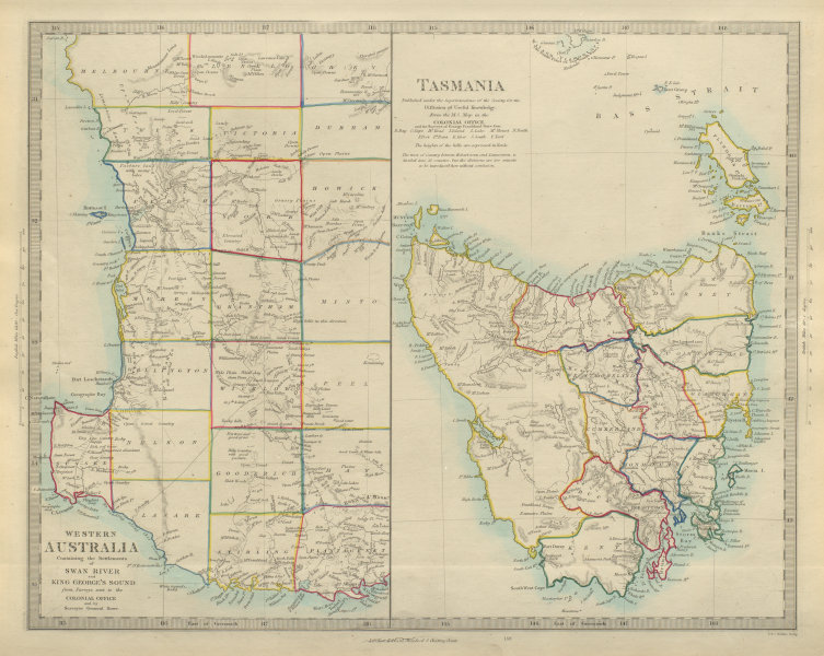 Associate Product AUSTRALIA. Western Australia & Tasmania. Perth & Hobart. SDUK 1874 old map