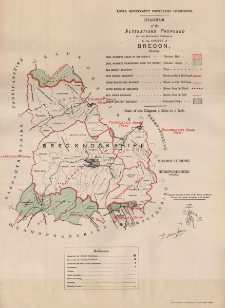 Alterations Proposed in Breconshire. JONES. BOUNDARY COMMISSION 1888 old map