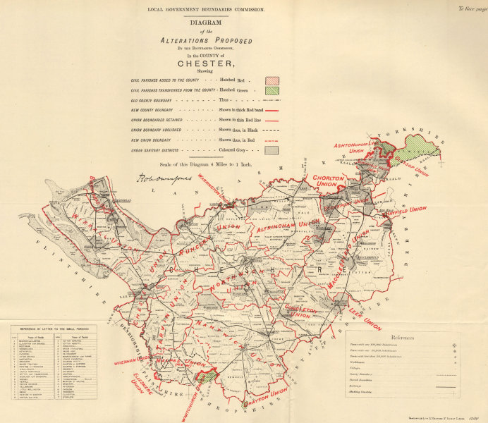 Associate Product Alterations Proposed in Cheshire. JONES. BOUNDARY COMMISSION 1888 old map