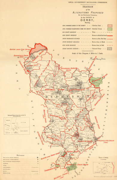Associate Product Alterations Proposed in Derbyshire. JONES. BOUNDARY COMMISSION 1888 old map