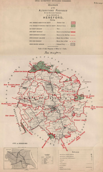 Associate Product Alterations Proposed in Herefordshire. JONES. BOUNDARY COMMISSION 1888 old map