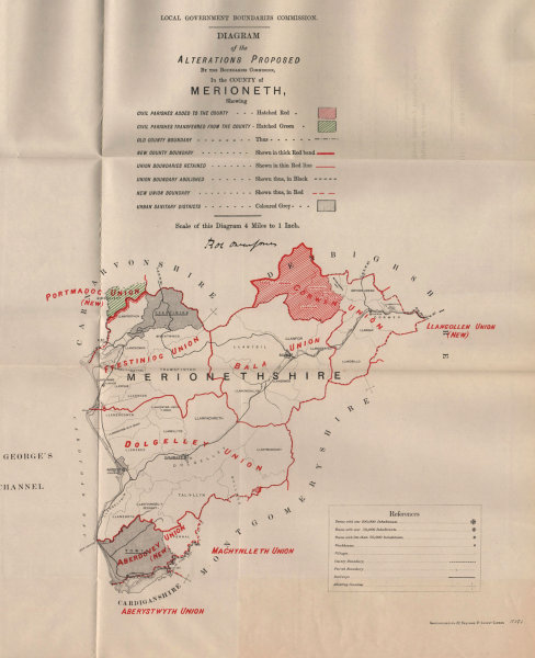 Associate Product Alterations Proposed in Merionethshire. JONES. BOUNDARY COMMISSION 1888 map