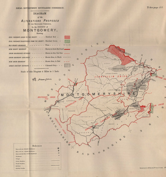 Associate Product Alterations Proposed in Montgomeryshire. JONES. BOUNDARY COMMISSION 1888 map