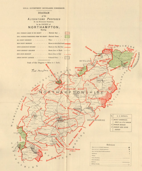 Associate Product Alterations Proposed in Northamptonshire. JONES. BOUNDARY COMMISSION 1888 map