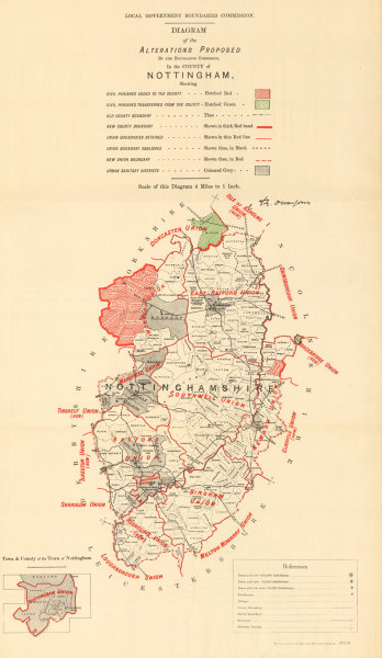 Associate Product Alterations Proposed in Nottinghamshire. JONES. BOUNDARY COMMISSION 1888 map