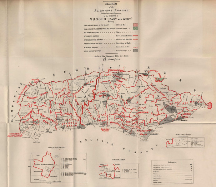 Associate Product Alterations Proposed in Sussex. JONES. BOUNDARY COMMISSION 1888 old map