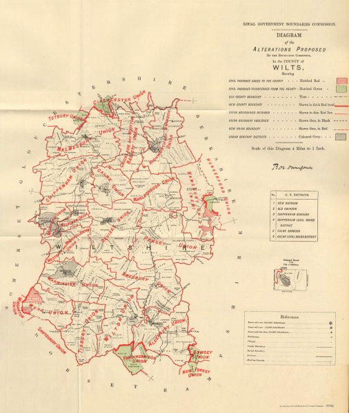 Associate Product Alterations Proposed in Wiltshire. JONES. BOUNDARY COMMISSION 1888 old map