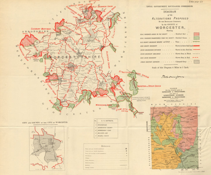 Associate Product Alterations Proposed in Worcestershire. JONES. BOUNDARY COMMISSION 1888 map