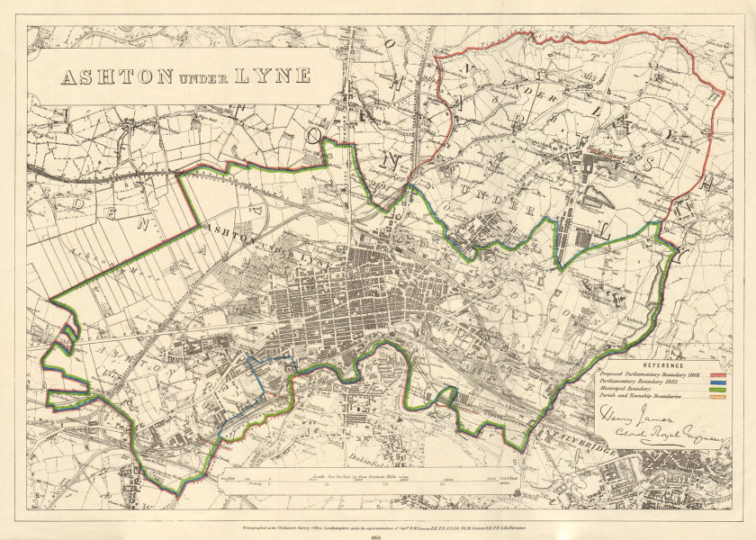 Ashton under Lyne. JAMES. PARLIAMENTARY BOUNDARY COMMISSION 1868 old map
