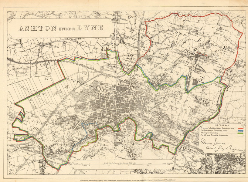 Associate Product Ashton under Lyne. JAMES. PARLIAMENTARY BOUNDARY COMMISSION 1868 old map