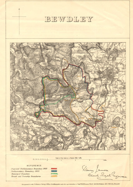 Associate Product Bewdley. JAMES. PARLIAMENTARY BOUNDARY COMMISSION 1868 old antique map chart