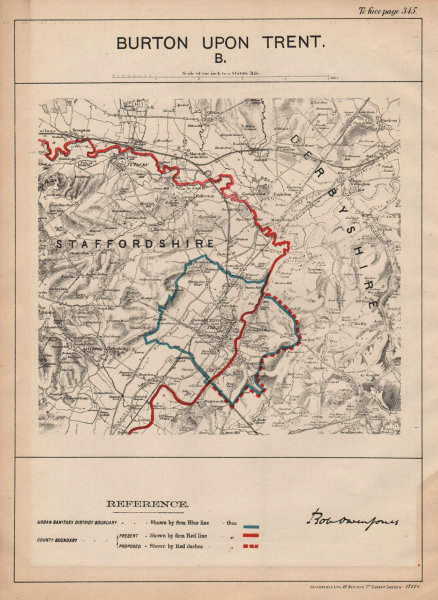 Associate Product Burton Upon Trent. JONES. PARLIAMENTARY BOUNDARY COMMISSION 1888 old map