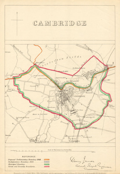 Associate Product Cambridge. JAMES. PARLIAMENTARY BOUNDARY COMMISSION 1868 old antique map chart