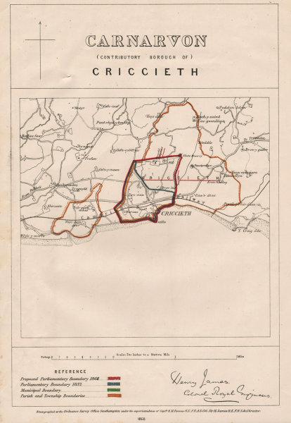 Carnarvon Contributory Borough of Criccieth. JAMES. BOUNDARY COMMISSION 1868 map