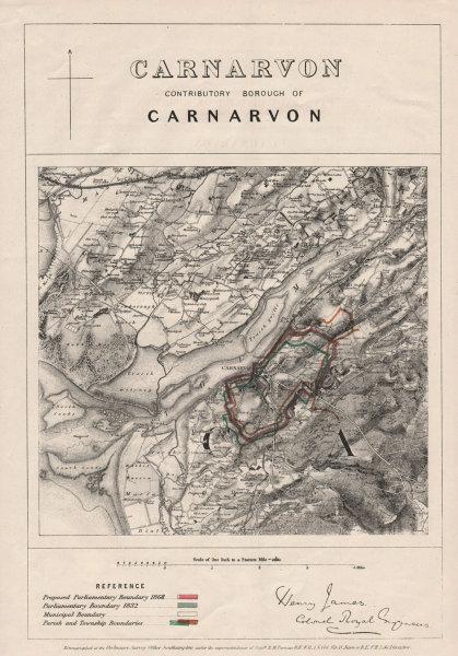 Associate Product Carnarvon Contributory Borough. Caernarfon. JAMES. BOUNDARY COMMISSION 1868 map
