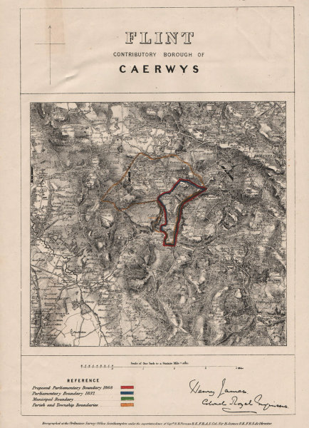 Associate Product Flint Contributory Borough of Caerwys. JAMES. BOUNDARY COMMISSION 1868 old map