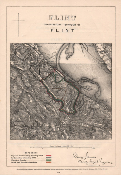 Associate Product Flint Contributory Borough of Flint. JAMES. BOUNDARY COMMISSION 1868 old map