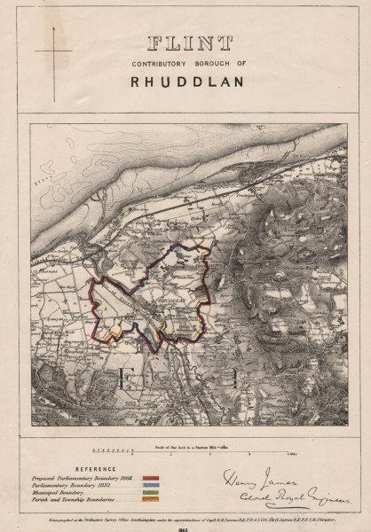 Associate Product Flint Contributory Borough of Rhuddlan. JAMES. BOUNDARY COMMISSION 1868 map