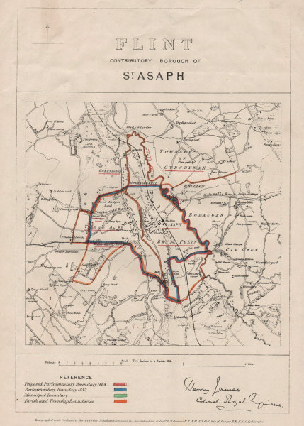 Associate Product Flint Contributory Borough of St. Asaph. JAMES. BOUNDARY COMMISSION 1868 map