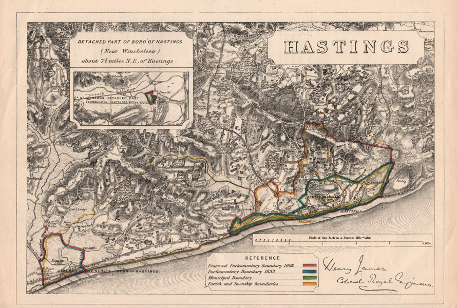 Associate Product Hastings & Bexhill. JAMES. PARLIAMENTARY BOUNDARY COMMISSION 1868 old map