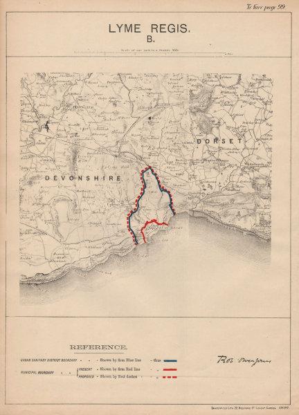 Associate Product Lyme Regis. JONES. PARLIAMENTARY BOUNDARY COMMISSION 1888 old antique map
