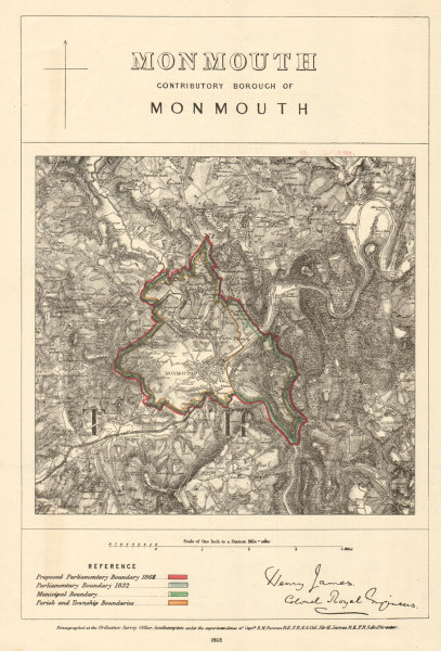 Associate Product Monmouth Contributory Borough. JAMES. PARLIAMENTARY BOUNDARY COMMISSION 1868 map