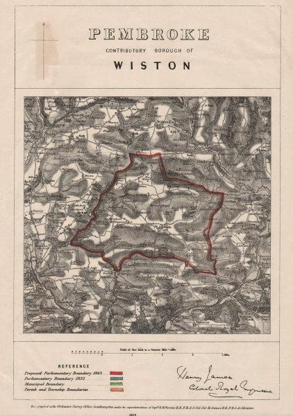 Associate Product Pembroke Contributory Borough of Wiston. JAMES. BOUNDARY COMMISSION 1868 map