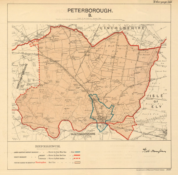 Associate Product Peterborough. JONES. PARLIAMENTARY BOUNDARY COMMISSION 1888 old antique map