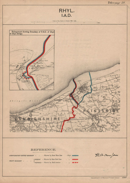 Associate Product Rhyl. JONES. PARLIAMENTARY BOUNDARY COMMISSION 1888 old antique map plan chart