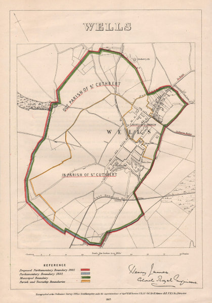 Associate Product Wells. JAMES. PARLIAMENTARY BOUNDARY COMMISSION 1868 old antique map chart
