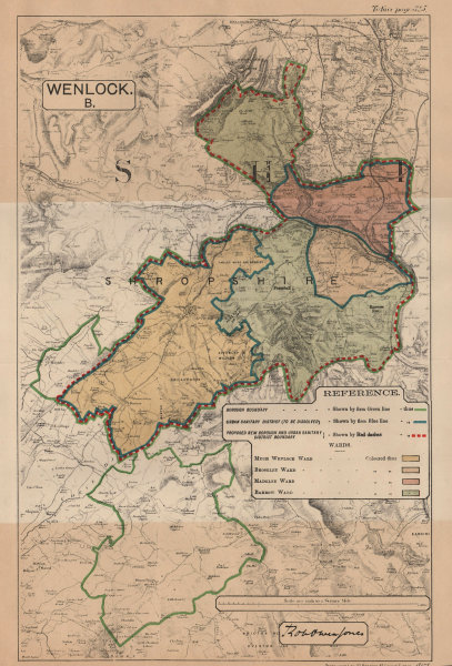 Associate Product Much Wenlock. JONES. PARLIAMENTARY BOUNDARY COMMISSION 1888 old antique map